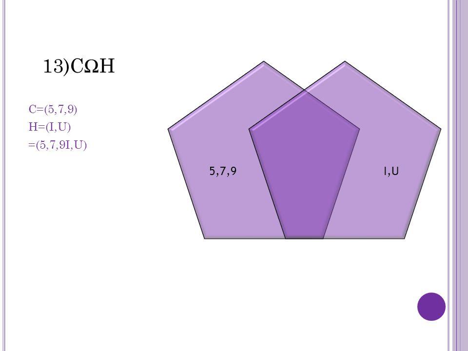 13)CΩH C=(5,7,9) H=(I,U) =(5,7,9I,U) 5,7,9I,U