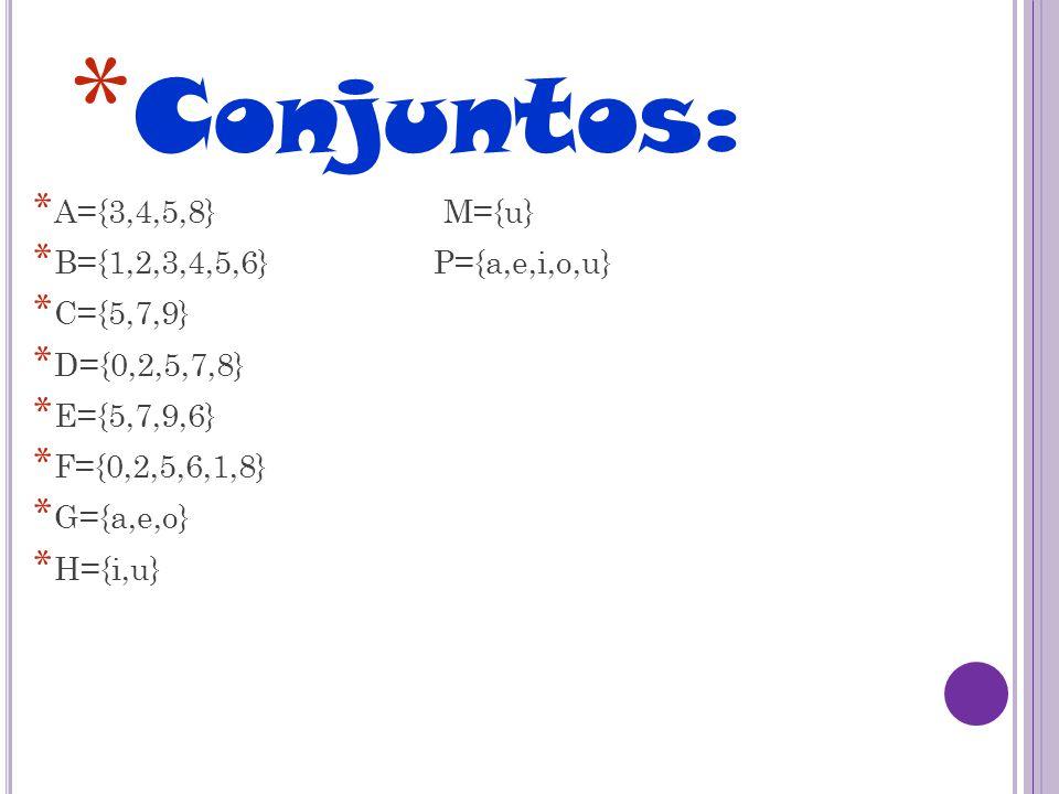 * Conjuntos: * A={3,4,5,8} M={u} * B={1,2,3,4,5,6} P={a,e,i,o,u} * C={5,7,9} * D={0,2,5,7,8} * E={5,7,9,6} * F={0,2,5,6,1,8} * G={a,e,o} * H={i,u}