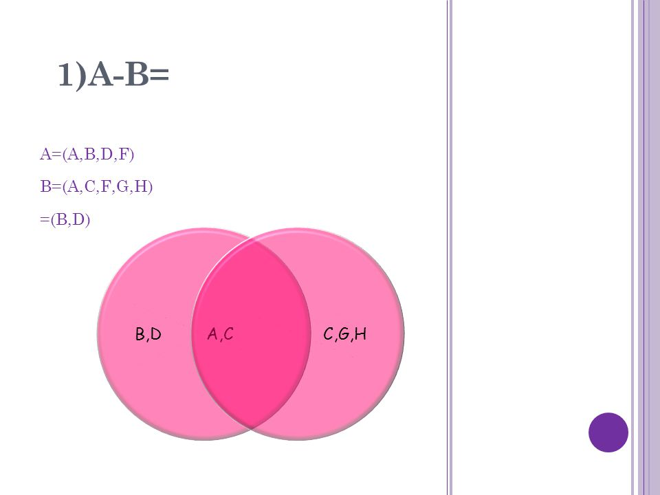 1)A-B= A=(A,B,D,F) B=(A,C,F,G,H) =(B,D) B,D A,CC,G,H