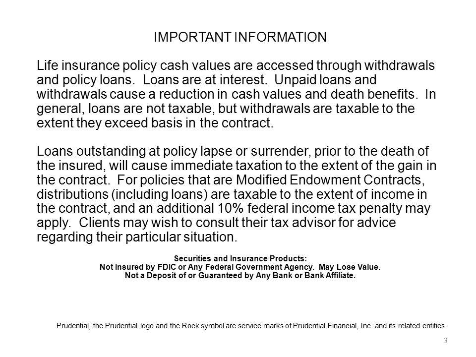 IMPORTANT INFORMATION Life insurance policy cash values are accessed through withdrawals and policy loans. Loans are at interest. Unpaid loans and wit