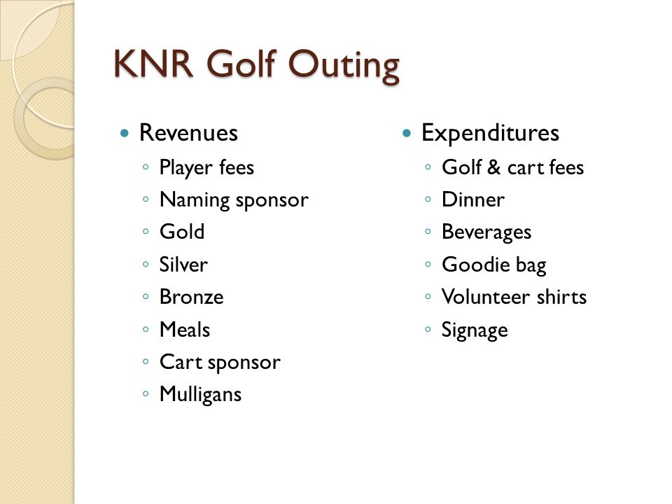 KNR Golf Outing Revenues ◦ Player fees ◦ Naming sponsor ◦ Gold ◦ Silver ◦ Bronze ◦ Meals ◦ Cart sponsor ◦ Mulligans Expenditures ◦ Golf & cart fees ◦ Dinner ◦ Beverages ◦ Goodie bag ◦ Volunteer shirts ◦ Signage