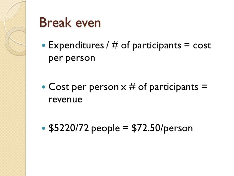 Break even Expenditures / # of participants = cost per person Cost per person x # of participants = revenue $5220/72 people = $72.50/person