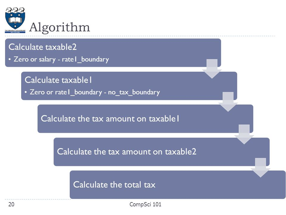 Algorithm Calculate taxable2 Zero or salary - rate1_boundary Calculate taxable1 Zero or rate1_boundary - no_tax_boundary Calculate the tax amount on t