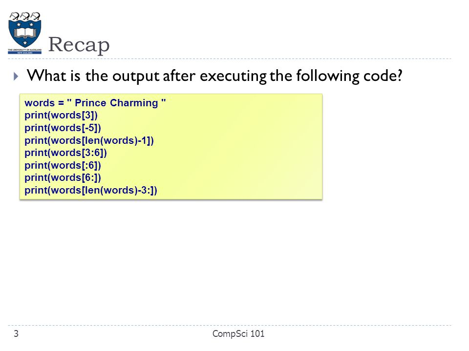  What is the output after executing the following code.
