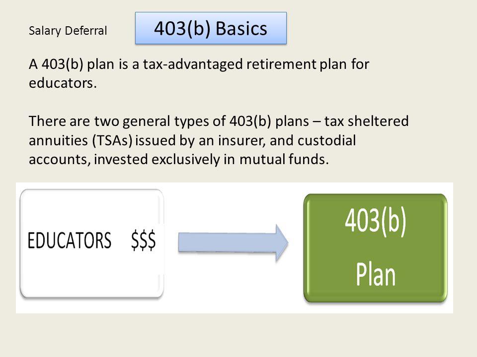 403(b) Basics A 403(b) plan is a tax-advantaged retirement plan for educators.