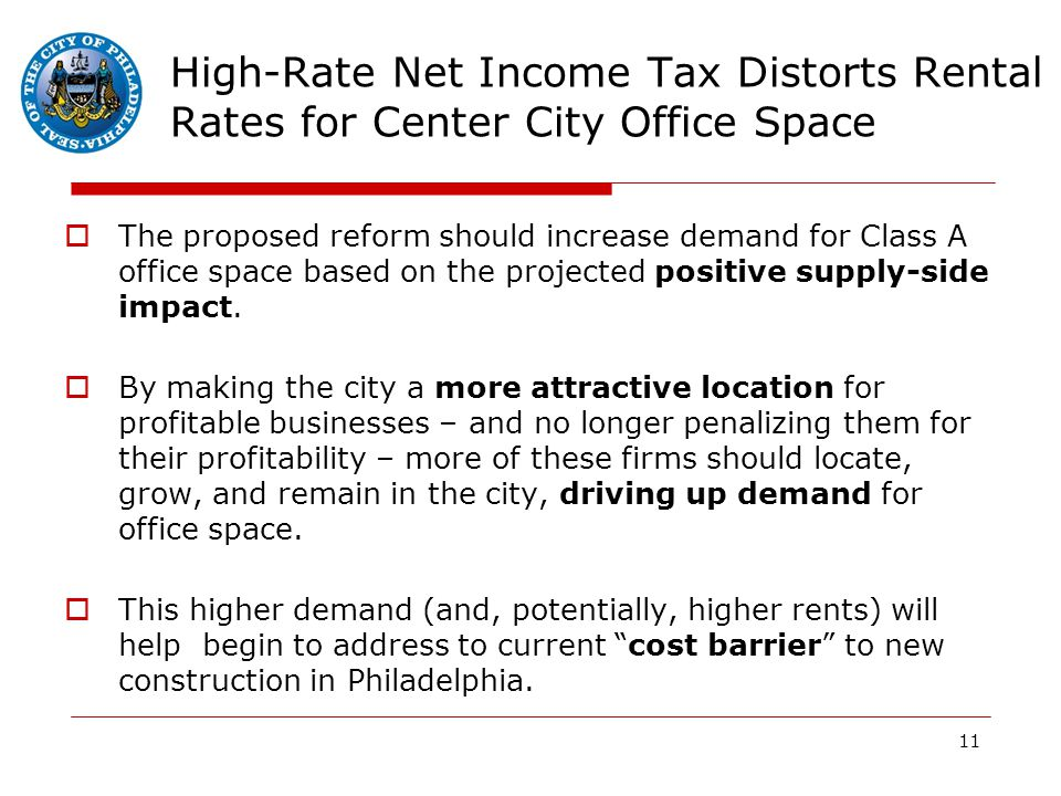 11 High-Rate Net Income Tax Distorts Rental Rates for Center City Office Space  The proposed reform should increase demand for Class A office space based on the projected positive supply-side impact.