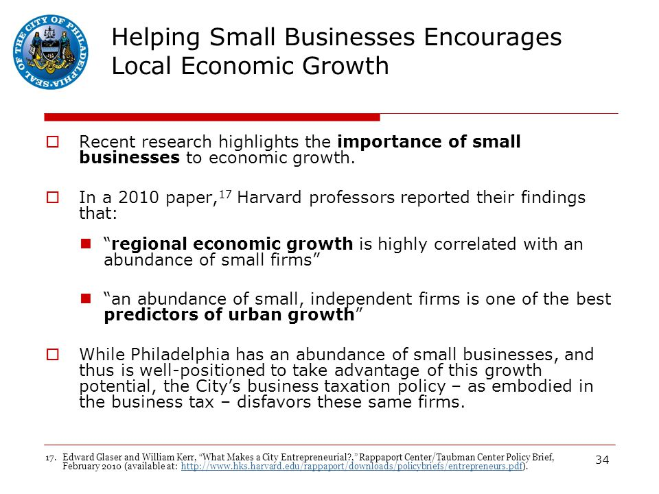 34 Helping Small Businesses Encourages Local Economic Growth  Recent research highlights the importance of small businesses to economic growth.
