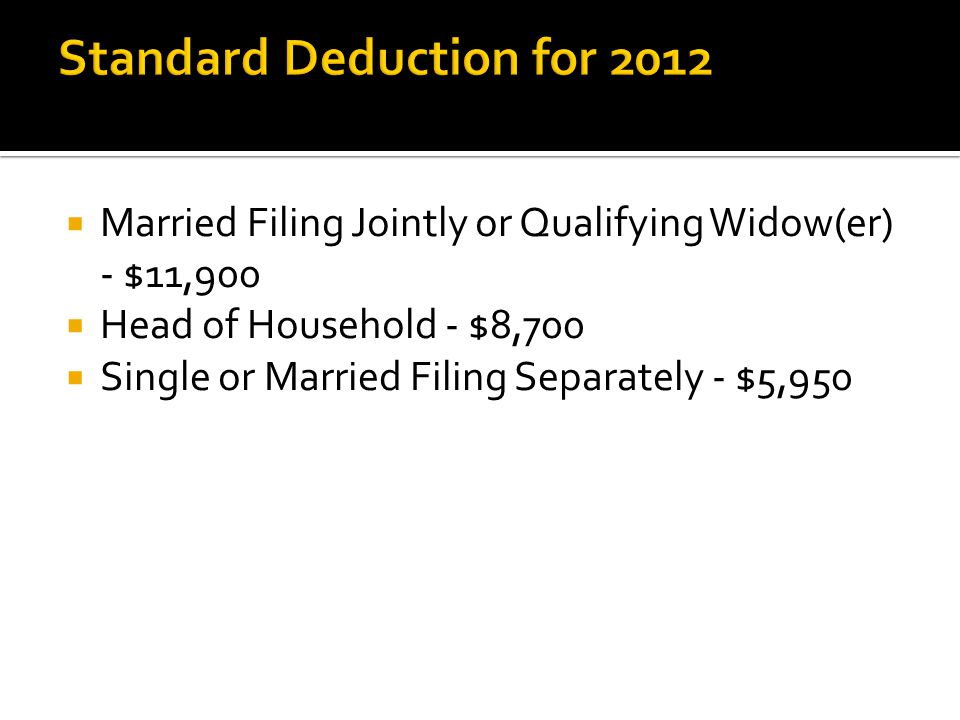  Married Filing Jointly or Qualifying Widow(er) - $11,900  Head of Household - $8,700  Single or Married Filing Separately - $5,950
