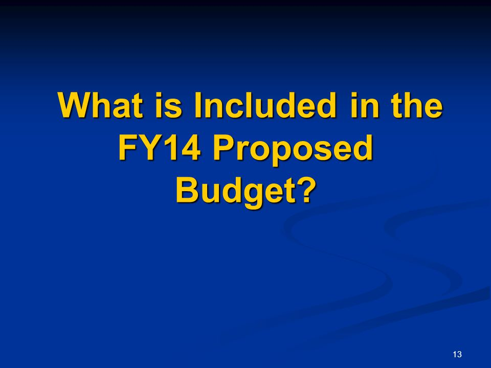 13 What is Included in the FY14 Proposed Budget What is Included in the FY14 Proposed Budget