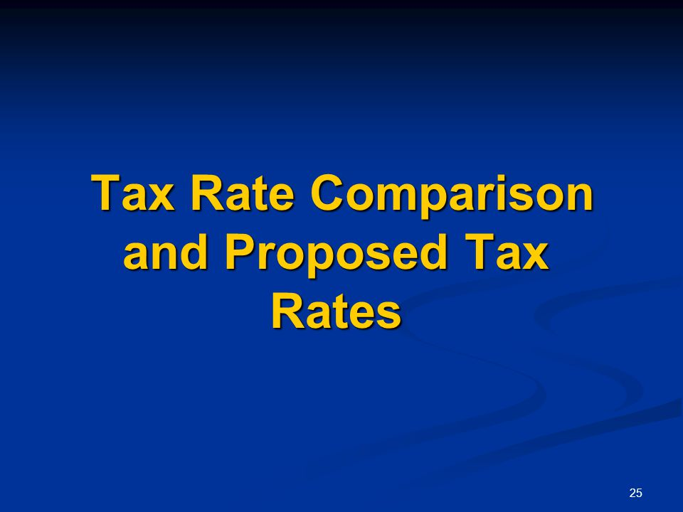 25 Tax Rate Comparison and Proposed Tax Rates Tax Rate Comparison and Proposed Tax Rates