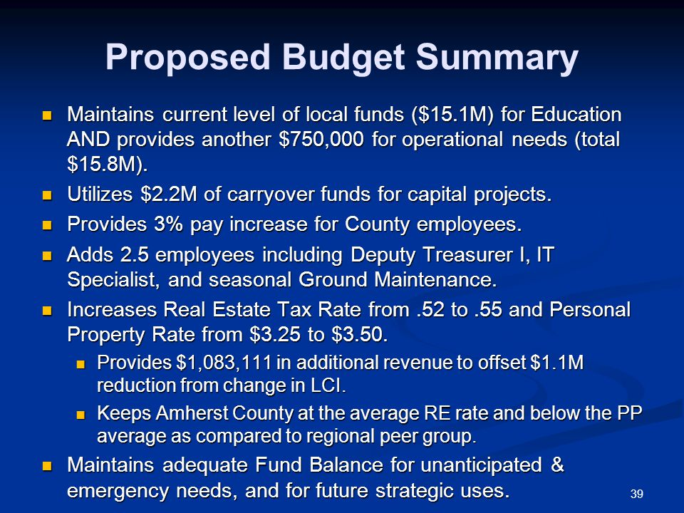 39 Proposed Budget Summary Maintains current level of local funds ($15.1M) for Education AND provides another $750,000 for operational needs (total $15.8M).