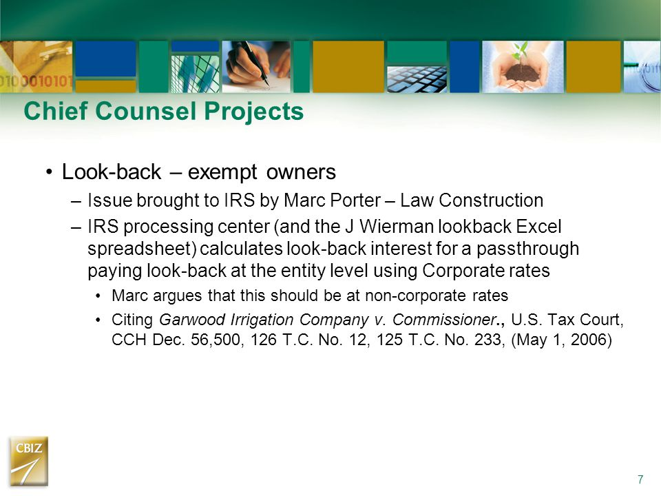 Chief Counsel Projects Look-back – exempt owners –Issue brought to IRS by Marc Porter – Law Construction –IRS processing center (and the J Wierman loo
