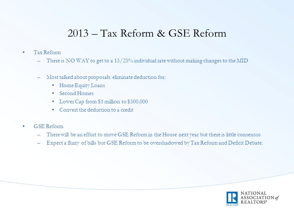 2013 – Tax Reform & GSE Reform Tax Reform –There is NO WAY to get to a 15/25% individual rate without making changes to the MID –Most talked about proposals: eliminate deduction for: Home Equity Loans Second Homes Lower Cap from $1 million to $500,000 Convert the deduction to a credit GSE Reform –There will be an effort to move GSE Reform in the House next year but there is little consensus –Expect a flurry of bills but GSE Reform to be overshadowed by Tax Reform and Deficit Debate.