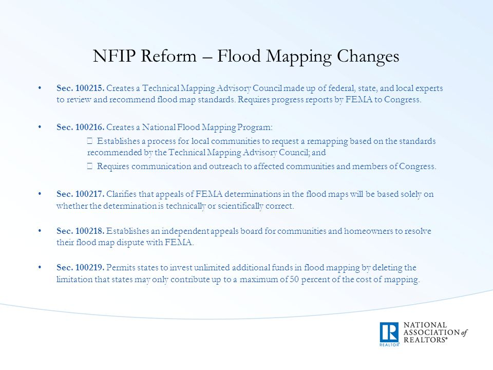 NFIP Reform – Flood Mapping Changes Sec. 100215.