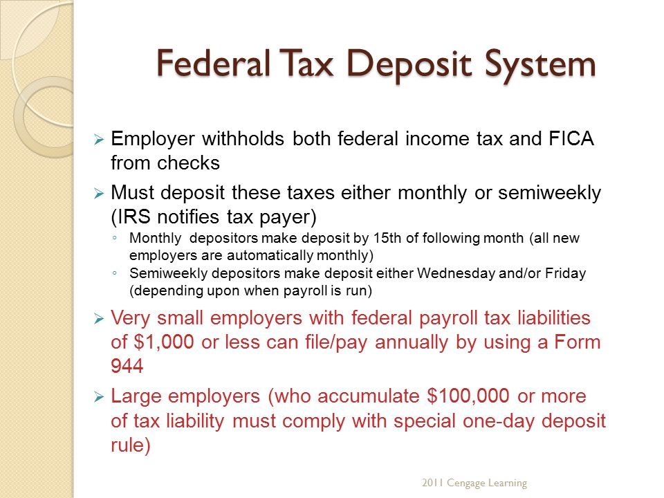 Federal Tax Deposit System  Employer withholds both federal income tax and FICA from checks  Must deposit these taxes either monthly or semiweekly (
