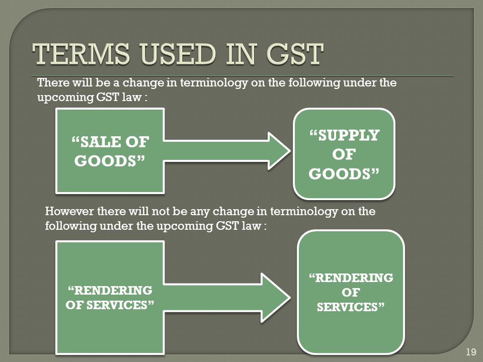 19 SALE OF GOODS RENDERING OF SERVICES SUPPLY OF GOODS RENDERING OF SERVICES There will be a change in terminology on the following under the upcoming GST law : However there will not be any change in terminology on the following under the upcoming GST law :