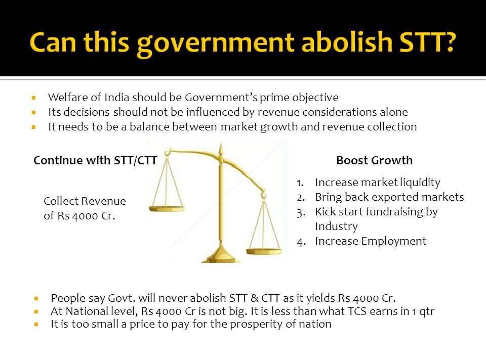  People say Govt. will never abolish STT & CTT as it yields Rs 4000 Cr.