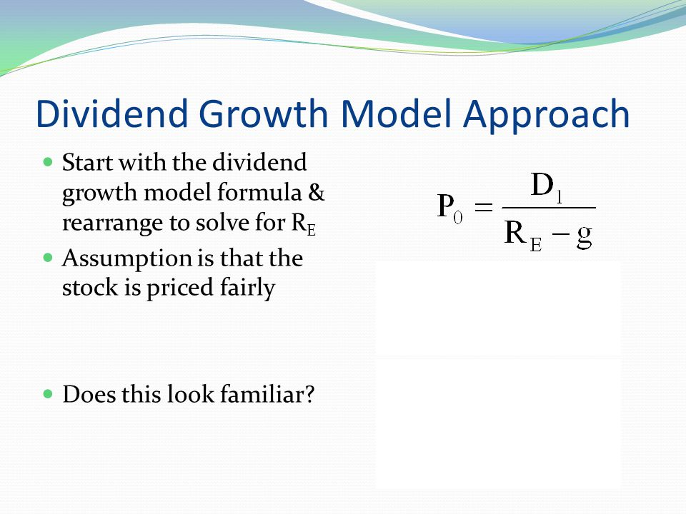 Dividend Growth Model The current stock price is $185.27 Your company is expected to pay a dividend of $3.00 per share next year D 1 or D 0 .