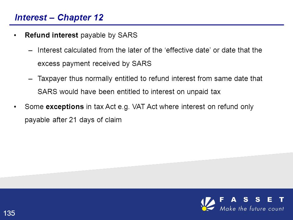 Interest – Chapter 12 Refund interest payable by SARS –Interest calculated from the later of the 'effective date' or date that the excess payment rece