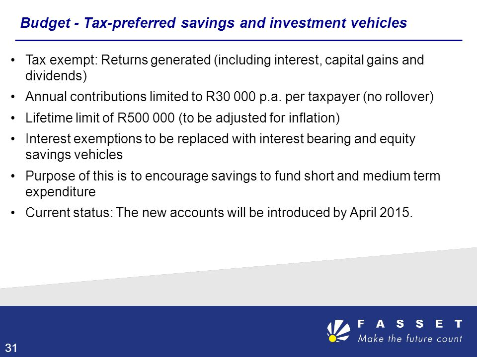 Tax exempt: Returns generated (including interest, capital gains and dividends) Annual contributions limited to R30 000 p.a. per taxpayer (no rollover