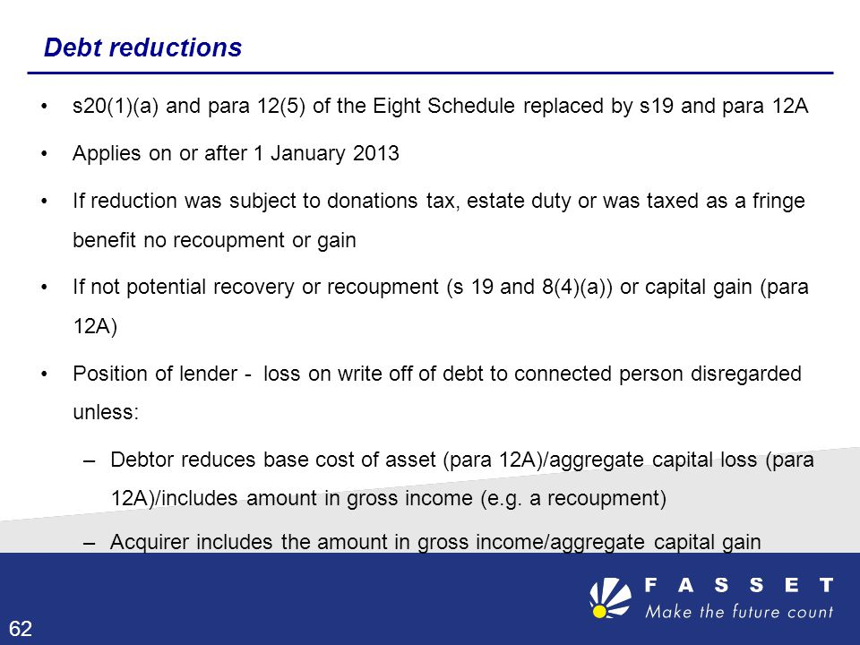 Debt reductions s20(1)(a) and para 12(5) of the Eight Schedule replaced by s19 and para 12A Applies on or after 1 January 2013 If reduction was subjec