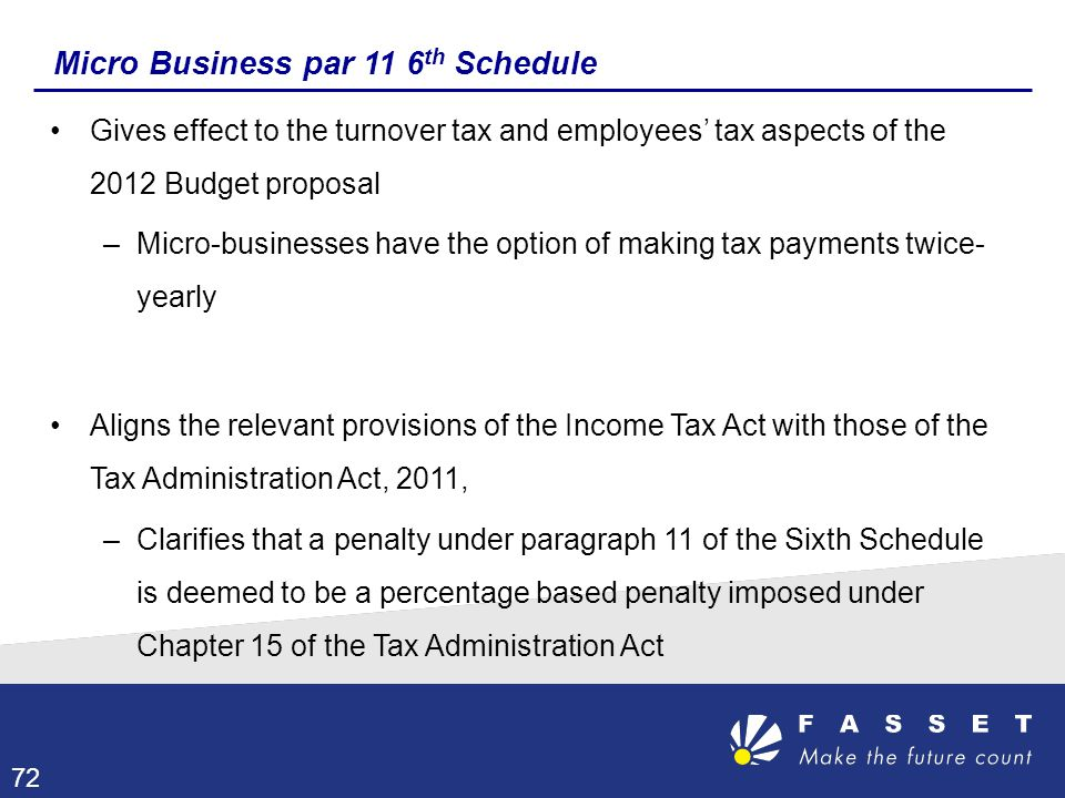 Micro Business par 11 6 th Schedule Gives effect to the turnover tax and employees' tax aspects of the 2012 Budget proposal –Micro-businesses have the