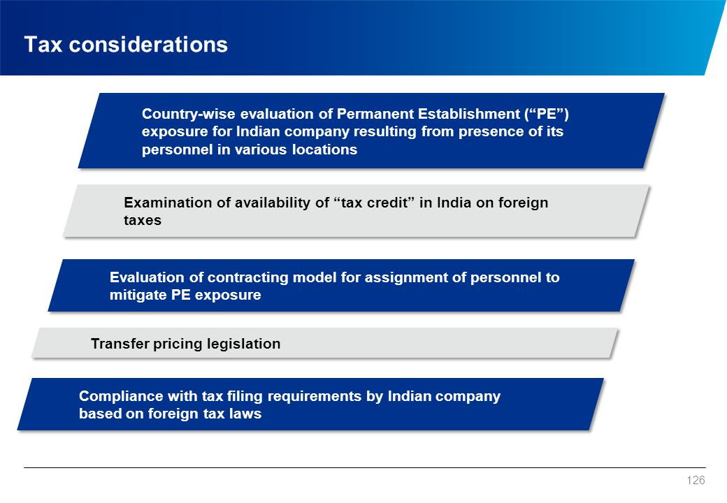"Tax considerations 126 Country-wise evaluation of Permanent Establishment (""PE"") exposure for Indian company resulting from presence of its personnel"