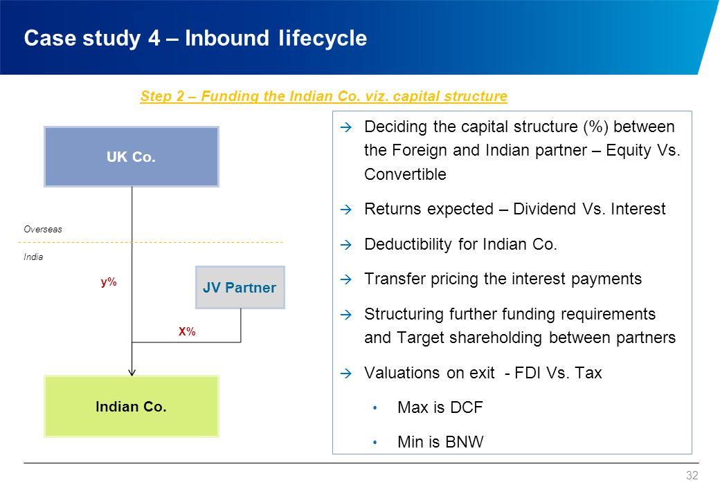 32 UK Co. Indian Co. Overseas India Step 2 – Funding the Indian Co. viz. capital structure  Deciding the capital structure (%) between the Foreign an