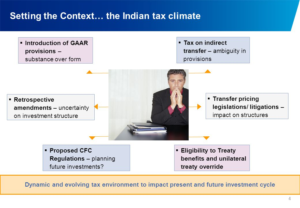 Setting the Context… the Indian tax climate 4 Dynamic and evolving tax environment to impact present and future investment cycle  Tax on indirect tra