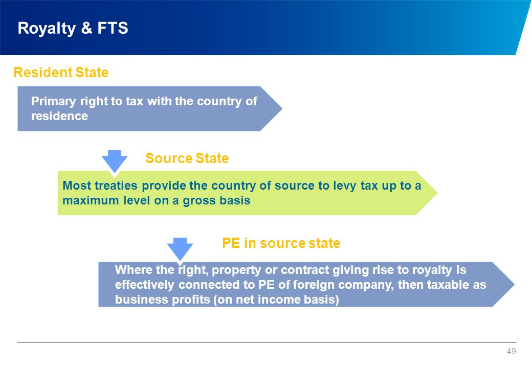 49 Royalty & FTS Primary right to tax with the country of residence Most treaties provide the country of source to levy tax up to a maximum level on a