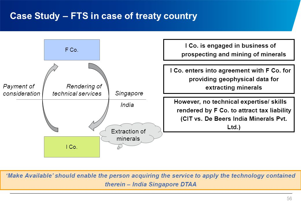 56 F Co. I Co. 'Make Available' should enable the person acquiring the service to apply the technology contained therein – India Singapore DTAA I Co.