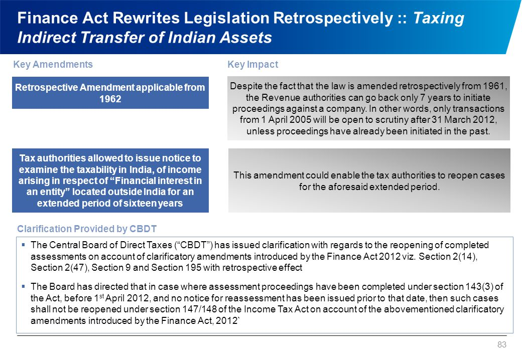 Finance Act Rewrites Legislation Retrospectively :: Taxing Indirect Transfer of Indian Assets 83 Key AmendmentsKey Impact Despite the fact that the la