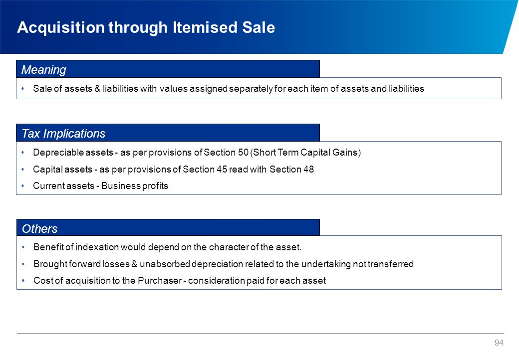 94 Acquisition through Itemised Sale Sale of assets & liabilities with values assigned separately for each item of assets and liabilities Benefit of i