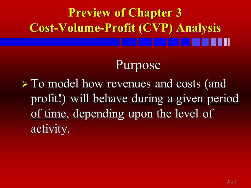 3 - 1 Preview of Chapter 3 Cost-Volume-Profit (CVP) Analysis Purpose Purpose  To model how revenues and costs (and profit!) will behave during a give