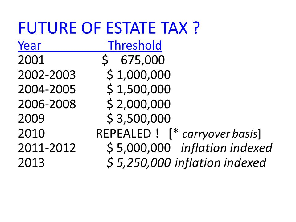 FUTURE OF ESTATE TAX ? Year Threshold 2001 $ 675,000 2002-2003$ 1,000,000 2004-2005$ 1,500,000 2006-2008$ 2,000,000 2009$ 3,500,000 2010 REPEALED ! [*