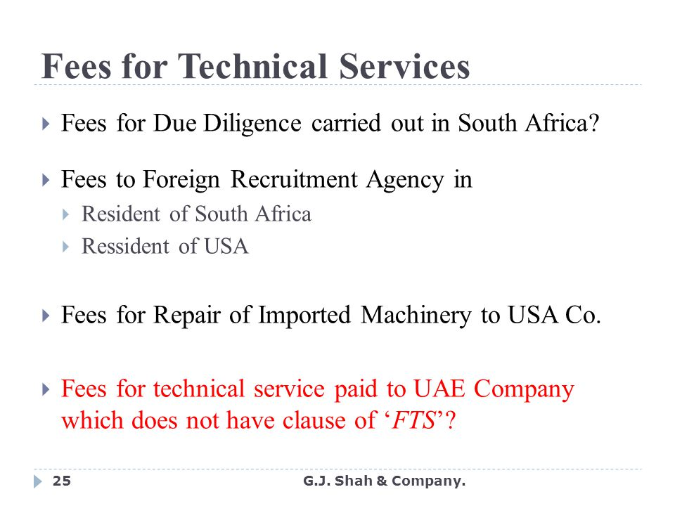 25 Fees for Technical Services  Fees for Due Diligence carried out in South Africa.