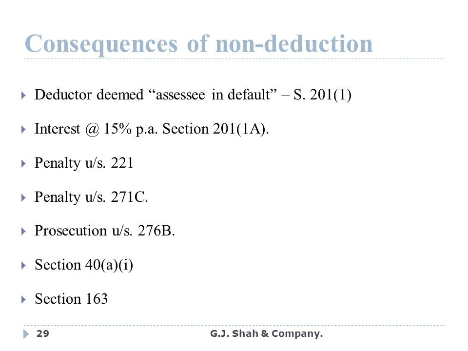 29 Consequences of non-deduction  Deductor deemed assessee in default – S.