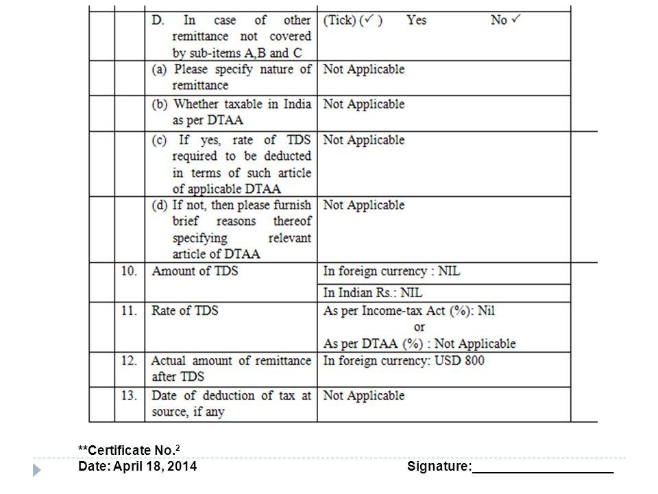 **Certificate No. 2 Date: April 18, 2014 Signature:____________________