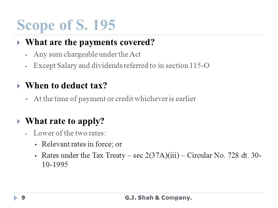 9 Scope of S.195  What are the payments covered.