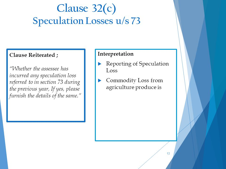 Clause 32(c) Speculation Losses u/s 73 13 Clause Reiterated ; Whether the assessee has incurred any speculation loss referred to in section 73 during the previous year, If yes, please furnish the details of the same. Interpretation  Reporting of Speculation Loss  Commodity Loss from agriculture produce is