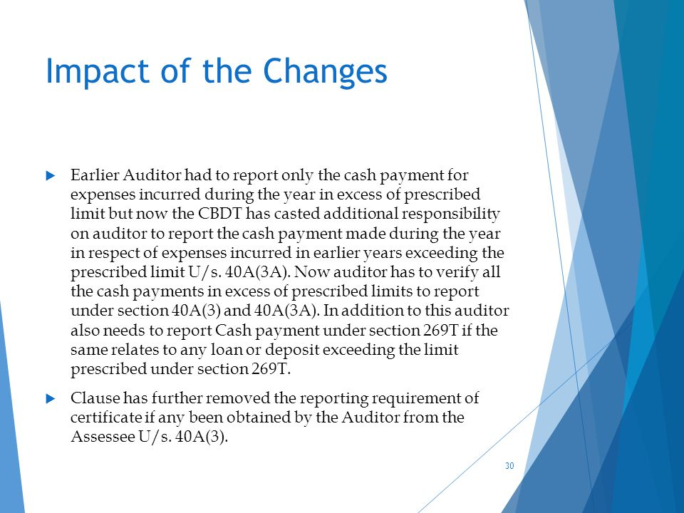 Impact of the Changes  Earlier Auditor had to report only the cash payment for expenses incurred during the year in excess of prescribed limit but no