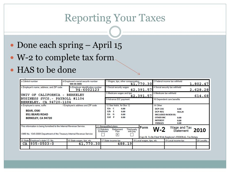 Reporting Your Taxes Done each spring – April 15 W-2 to complete tax form HAS to be done
