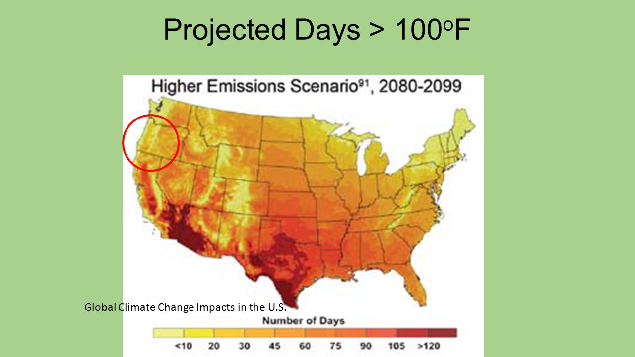 Projected Days > 100 o F Global Climate Change Impacts in the U.S.