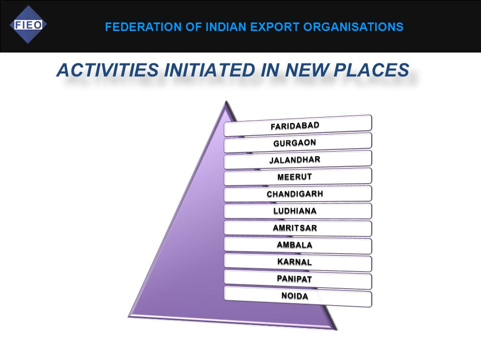 FEDERATION OF INDIAN EXPORT ORGANISATIONS ACTIVITIES INITIATED IN NEW PLACES