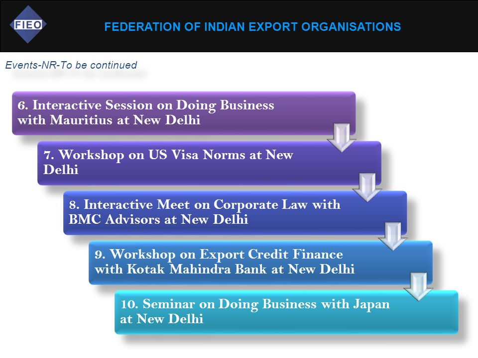 FEDERATION OF INDIAN EXPORT ORGANISATIONS Events-NR-To be continued 6. Interactive Session on Doing Business with Mauritius at New Delhi 7. Workshop o
