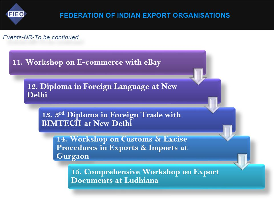FEDERATION OF INDIAN EXPORT ORGANISATIONS Events-NR-To be continued 11. Workshop on E-commerce with eBay 12. Diploma in Foreign Language at New Delhi