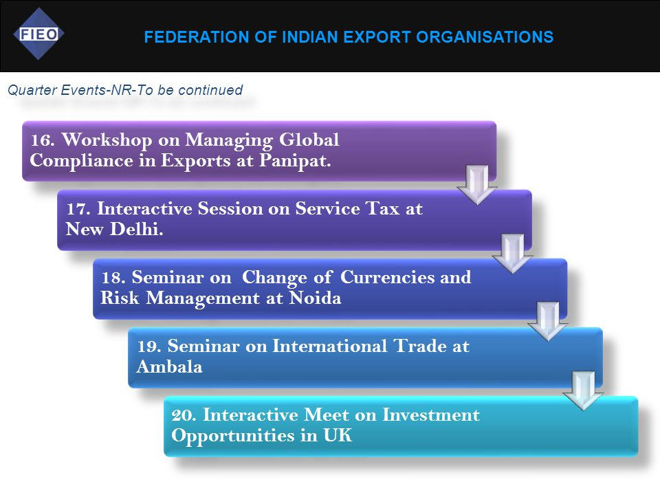 FEDERATION OF INDIAN EXPORT ORGANISATIONS Quarter Events-NR-To be continued 16.