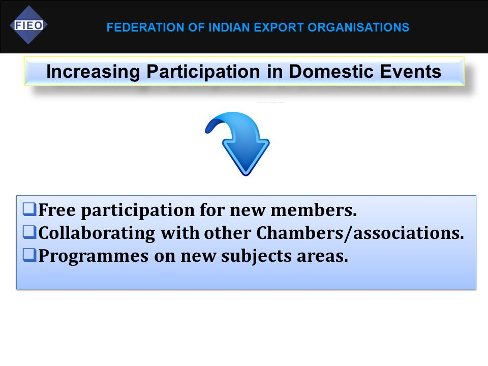 FEDERATION OF INDIAN EXPORT ORGANISATIONS Increasing Participation in Domestic Events  Free participation for new members.  Collaborating with other