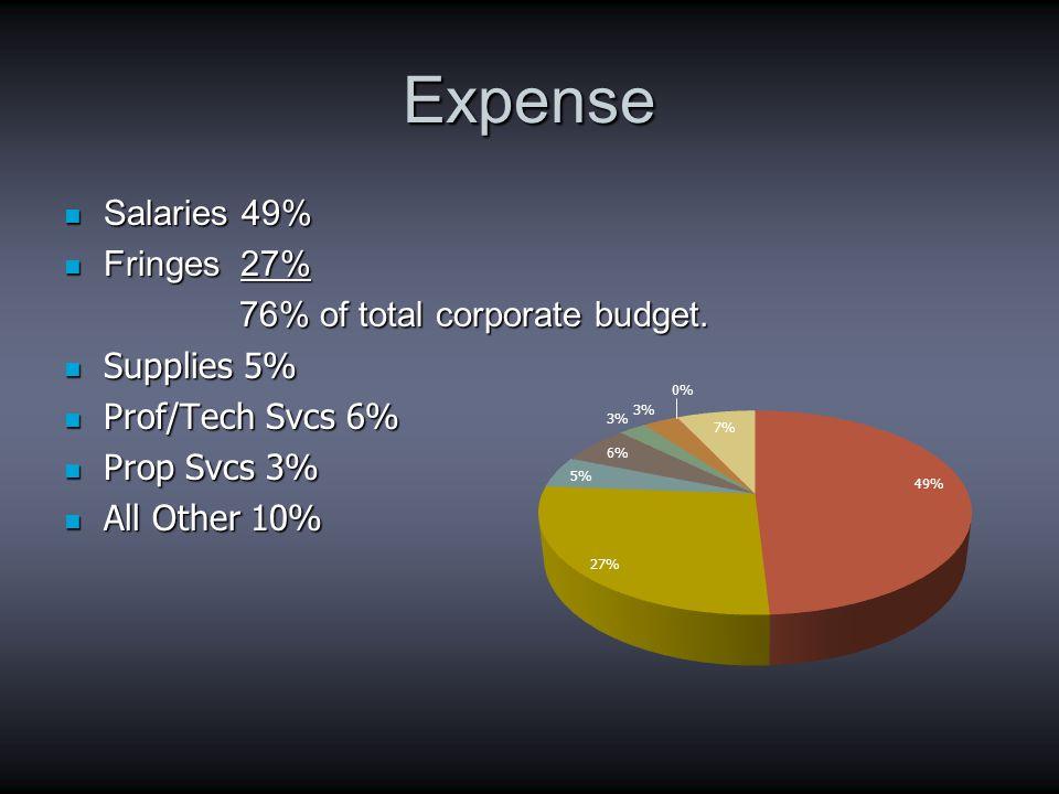 Expense Salaries 49% Salaries 49% Fringes 27% Fringes 27% 76% of total corporate budget.