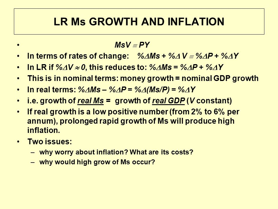 LR Ms GROWTH AND INFLATION MsV  PY In terms of rates of change: %  Ms + %  V  %  P + %  Y In LR if %  V  0, this reduces to: %  Ms = %  P + %  Y This is in nominal terms: money growth = nominal GDP growth In real terms: %  Ms – %  P = %  (Ms/P) = %  Y i.e.